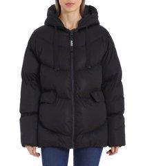 women's avec les filles water resistant hooded cozy duvet puffer jacket, size xx-small - black