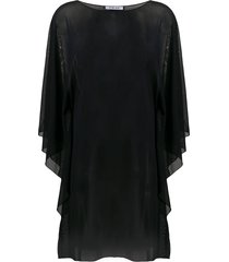 fisico sheer floaty style tunic top - black