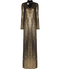 gucci choker cut-out chainmail gown - gold