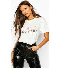 couture t-shirt met slogan, wit