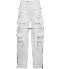 dsquared2 white cotton aviator pants with zip