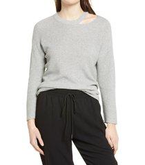 women's halogen crewneck slit detail pullover, size xx-small - grey