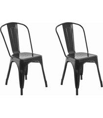conjunto 02 cadeiras iron preta rivatti - preto - dafiti