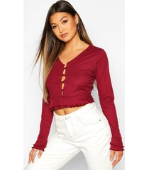 double lettuce hem ribbed button up top, wine