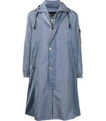 emporio armani longline zip-up hooded jacket - blue
