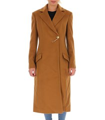 brooch detail textured coat