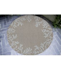 liora manne' capri 1620 coral border 5' indoor/outdoor round area rug