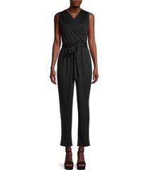 tiana b women's yummy suits faux-wrap jumpsuit - black - size l