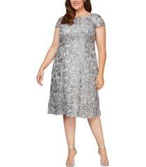 alex evenings plus size rosettes lace a-line dress