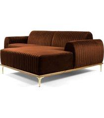 sofã¡ 3 lugares com chaise esquerdo base de madeira euro 230 cm veludo telha - gran belo - cobre - dafiti