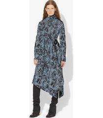 proenza schouler zebra print long sleeve scarf dress black/pale blue animal 2
