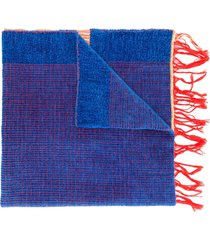 forte forte two-tone fringed scarf - blue
