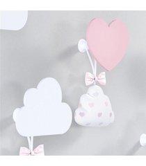 cabideiros de parede coraã§ã£o e nuvem grã£o de gente rosa - rosa - menina - dafiti