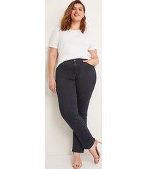 lane bryant women's tighter tummy high rise straight jean - velvet dark wash 28l dark denim