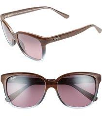 women's maui jim starfish 56mm polarizedplus2 cat eye sunglasses - sandstone/ blue
