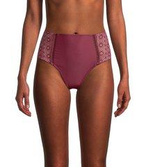 jonathan simkhai women's cabernet lace bikini bottom - cabernet - size xs