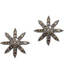 0.8 tcw diamond & silver starburst stud earrings