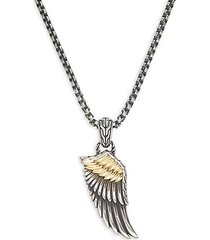 18k yellow gold & sterling silver pendant necklace