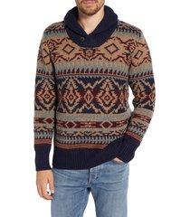 men's schott nyc shawl button collar print wool blend sweater, size medium - none