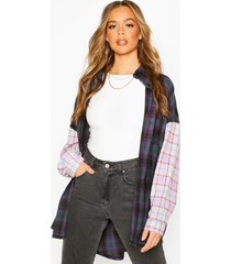 contrast flannel oversized shirt with pockets, purple
