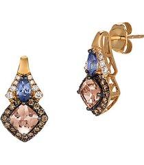 chocolatier vanilla diamond, chocolate diamond, peach morganite, blueberry tanzanite and 14k strawberry gold earrings