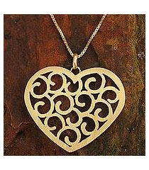 gold plated heart necklace, 'thai love' (thailand)