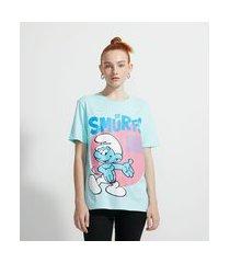 blusa alongada em algodão com mangas curtas estampa smurfs | smurfs | azul | pp