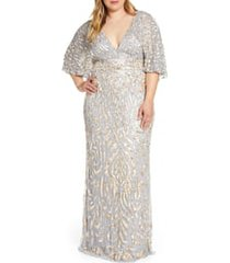 plus size women's mac duggal sequin cape sleeve evening gown