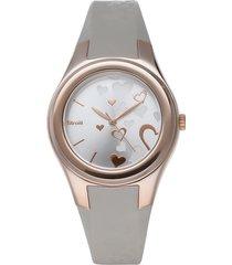 broadway - orologio cinturino tortora in policarbonato, cassa oro rosa per donna