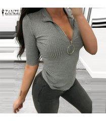 mujer cuello bajo con cremallera cuello casual camisa elástica delgada tops blusa club party jumper -gris