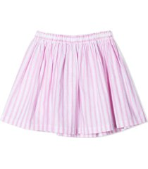 douuod rose-pink cotton-linen blend skirt