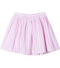 douuod rose-pink cotton-linen blend skirt