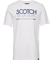 scotch & soda crew neck logo tee t-shirts short-sleeved vit scotch & soda