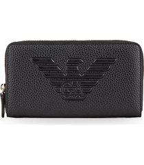 emporio armani black zip wallet