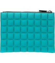 no ka' oi padded effect rectangular clutch bag - green