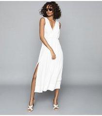 reiss marcella - split front beach dress in white, womens, size 12