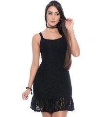 vestido b'bonnie de alça curto renda preto