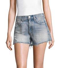 high-rise rosebowl slit hem denim shorts