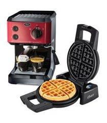 kit cafeteira expresso cappuccino e máquina de waffle oster 110v
