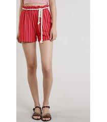 short feminino clochard listrado com corda vermelho