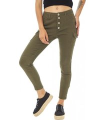 jeans cargo mujer verde militar corona