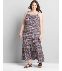 lane bryant women's printed square-neck tiered maxi dress 10/12 abstract print