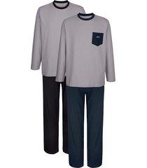pyjama's babista 1x grijs/marine, 1x grijs/zwart