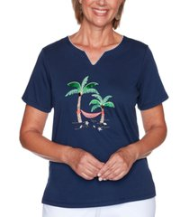 alfred dunner petite island hopping embroidered palm tree top