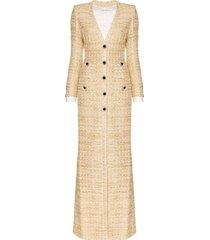alessandra rich metallic tweed gown dress - neutrals