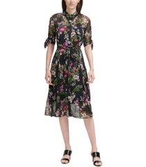 calvin klein floral-print chiffon midi dress