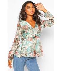 tall floral metallic wrap blouse, sage