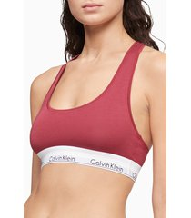 calvin klein modern cotton collection cotton blend racerback bralette, size x-large in deep sea rose at nordstrom