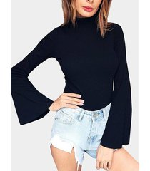 cuello negro perkins mangas acampanadas bodycon crop top