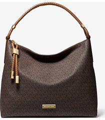 mk borsa a spalla lexington grande con logo - marrone/cuoio (marrone) - michael kors